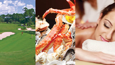 golfers on course, seafood extravaganza, massage